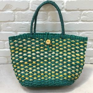 Vintage Green & Yellow Woven Straw Tote Bag